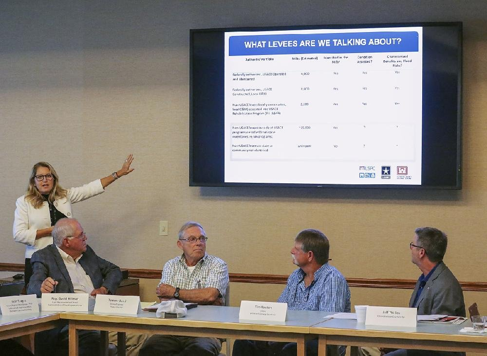 Cathi Sanders, National Levee Database manager, conducts a presentation Thursday in Little Rock for members of the Arkansas Levee Task Force (from left) state Rep. David Hillman, Tommy Bond, Tim Ralston and Jeff Phillips.