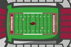 A digital rendering shows the 2019 field design for Donald W. Reynolds Razorback Stadium in Fayetteville.