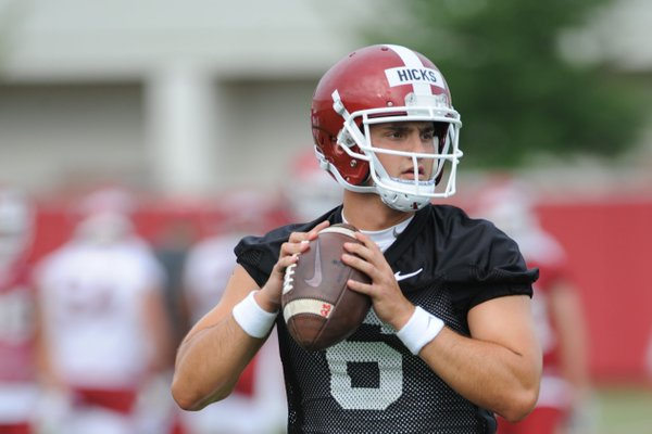 Arkansas senior quarterback Ben Hicks has been working with the first team so far early in practices, but Coach Chad Morris said he has worked his quarterbacks into several groups.