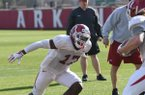 University of Arkansas Razorback Joe Foucha participates in football spring practice Tuesday, March 26, 2019, on campus in Fayetteville.