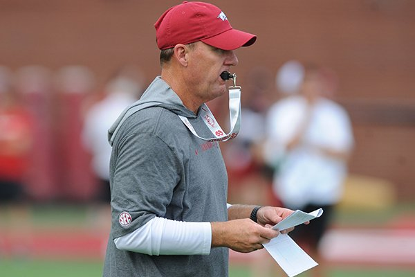 Arkansas coach Chad Morris directs his players Friday, Aug. 2, 2019, during practice at the university practice field in Fayetteville.