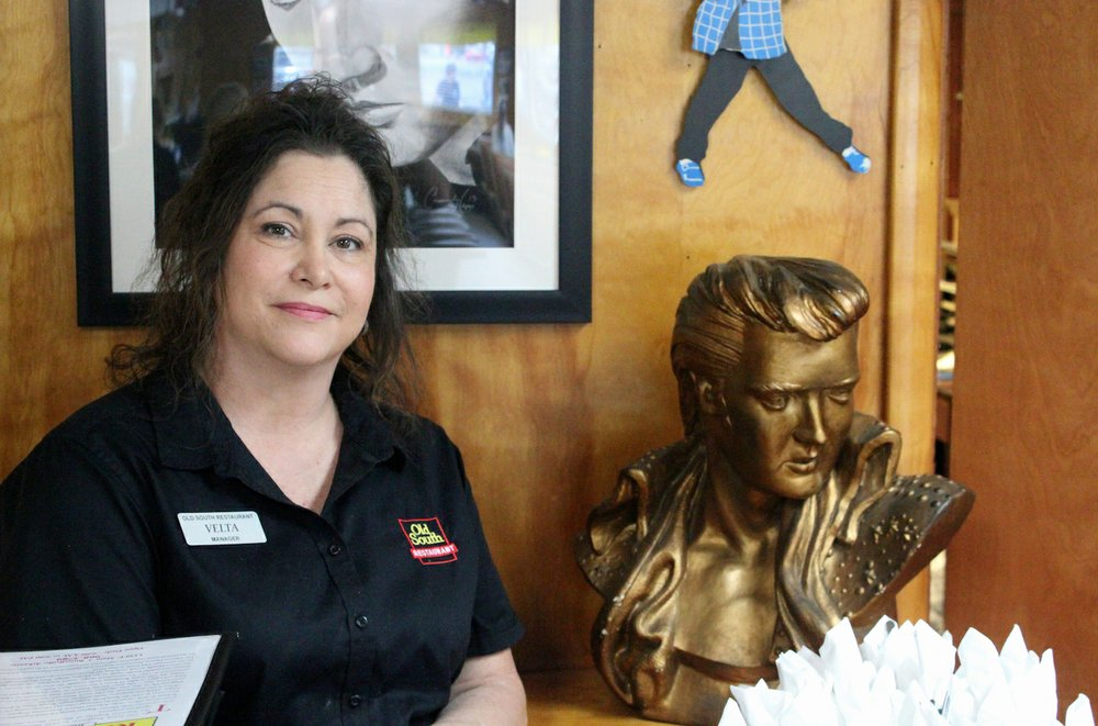 Elvis is an icon at the Old South, but Velta Nolan is the manager. (Special to the Democrat-Gazette/ELI CRANOR)