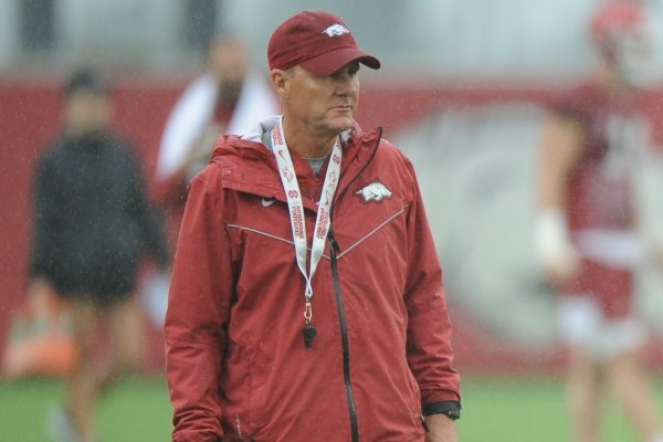 Arkansas coach Chad Morris watches his players Saturday, Aug. 3, 2019, during practice at the university practice field in Fayetteville. Visit nwad.com/photos to see more photographs from the practice.