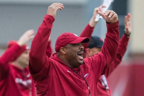 Arkansas holds spring practice Friday, March 1, 2019, at the Arkansas practice field in Fayetteville.