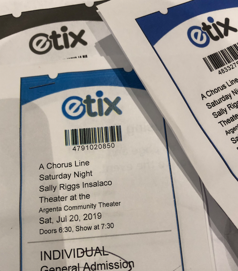 A scammer duplicated the ticket template on the eTix online platform to create counterfeit tickets to A Chorus Line last month at Argenta Community Theater. Because the run of the show sold out, the theater, seeking to maintain good will for current and future patrons, scrambled to try to accommodate as many of the holders of fake tickets as they could. (Special to the Democrat-Gazette)