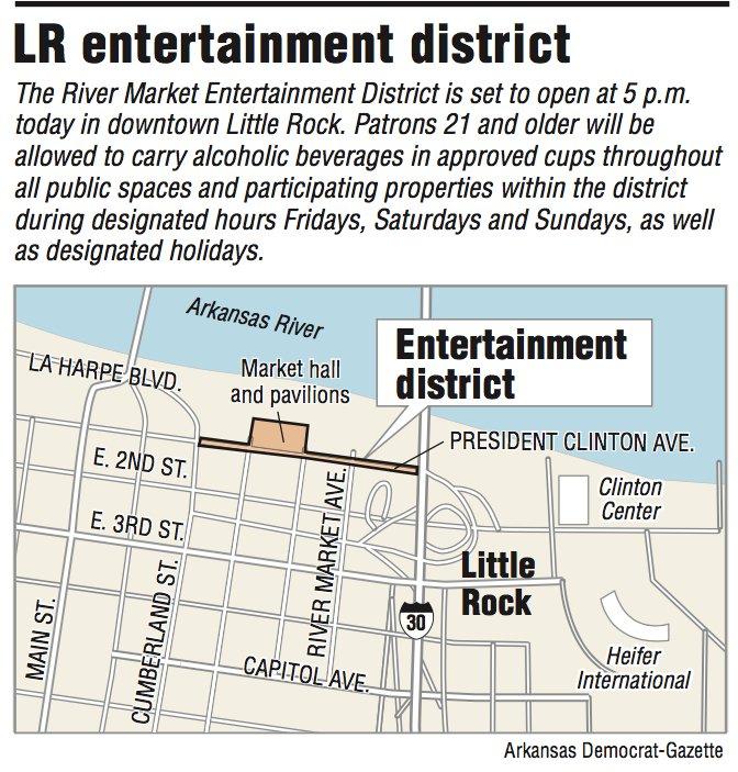 A map showing the LR entertainment district