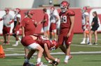 Arkansas' Trey Purifoy snaps Tuesday, Aug. 20, 2019, as long snapper Jordan Silver (48) watches during practice at the university's practice facility in Fayetteville.