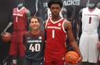 Harrison Ingram (right) is shown with Arkansas coach Eric Musselman.
