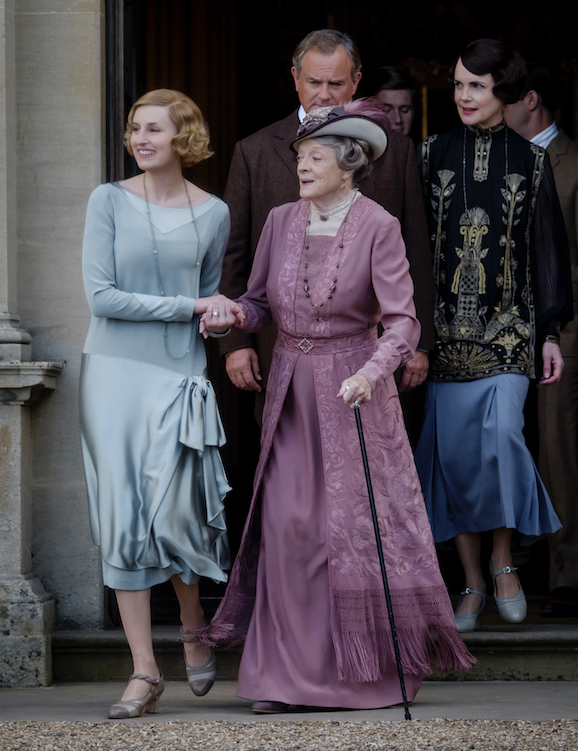 "Laura Carmichael stars as Lady Hexham, Maggie Smith as The Dowager Countess of Grantham, Hugh Bonneville as Lord Grantham, Allen Leech as Tom Branson and Elizabeth McGovern as Lady Grantham in ""Downton Abbey."" (Focus Features)"