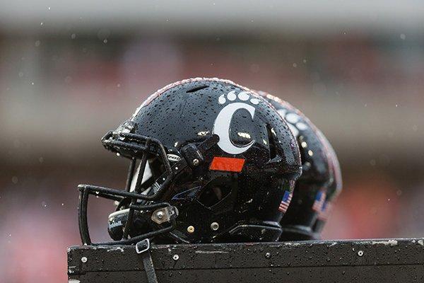 Cincinnati helmets during the first half of an NCAA college football game at TDECU Stadium, Saturday, Nov. 7, 2015, in Houston. Houston defeated Cincinnati 33-30. (AP Photo/Juan DeLeon)