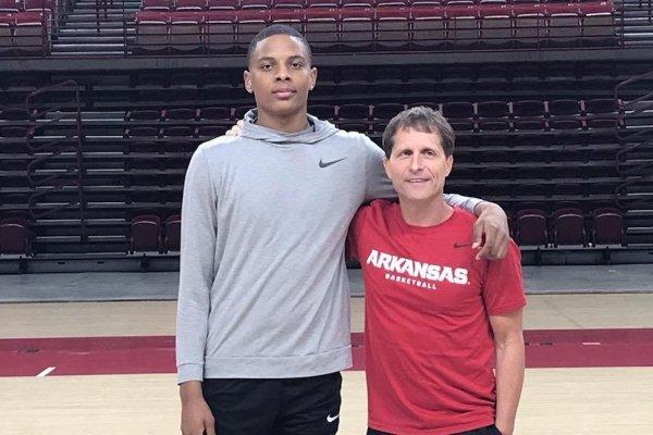 2022 guard Javion Guy-King and Coach Eric Musselman