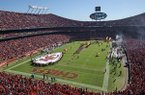 In this Oct. 28, 2018, file photo, fans fill Arrowhead Stadium as the Kansas City Chiefs run onto the field before an NFL game against the Denver Broncos in Kansas City, Mo.