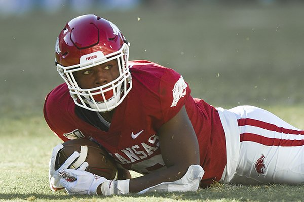 Arkansas receiver Treylon Burks is shown after catching a pass during a game against Portland State on Saturday, Aug. 31, 2019, in Fayetteville.