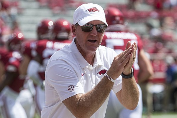 Arkansas coach Chad Morris is shown prior to a game against Portland State on Saturday, Aug. 31, 2019, in Fayetteville.