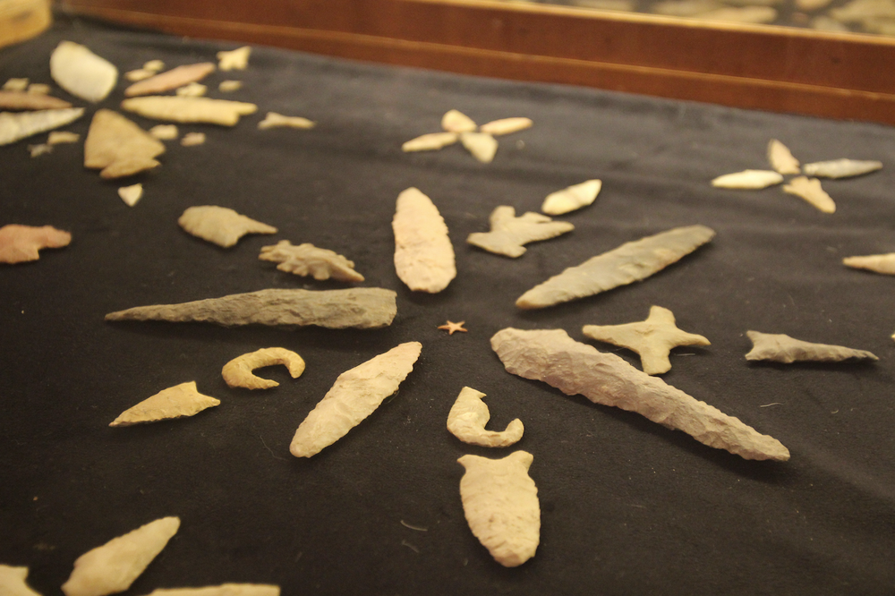 This display of projectile points is from the A.C. Looney and R.H. Kolb Collection at the Drew County Historical Museum. The star at the center was found at a site along the Saline River in 1927.