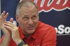 Ole Miss offensive coordinator Rich Rodriguez talks to reporters during a media day interview in Oxford, Miss., Thursday, Aug. 1, 2019. (AP Photo/Thomas Graning)
