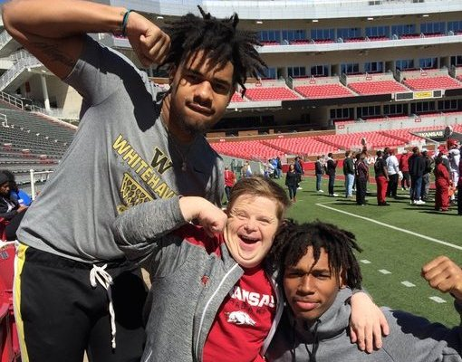 Arkansas LB commit Martavius French, super fan Canaan Sandy and LB target Bryson Eason.