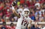 Arkansas quarterback Nick Starkel throws a pass during a game against Ole Miss on Saturday, Sept. 7, 2019, in Oxford, Miss.