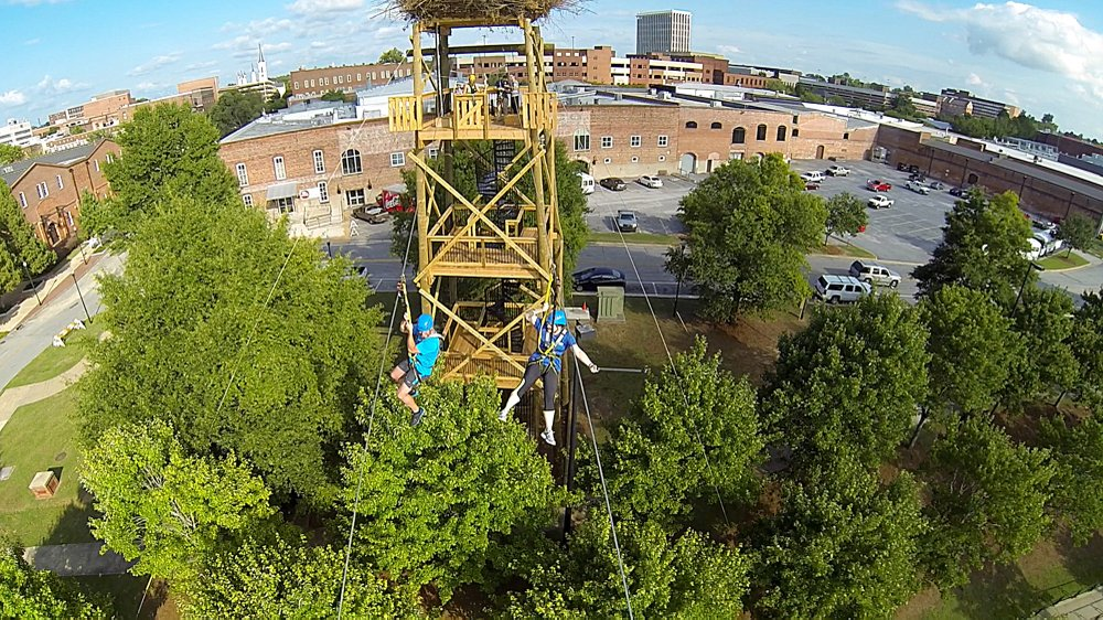 The Chattahoochee River in Columbus is the only place in the U.S. where you can zipline from state to state between Georgia and Alabama and back again. (Visit Columbus/TNS)