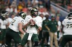 Colorado State Rams quarterback Collin Hill (15) in the third quarter of an NCAA college football game Friday, Aug. 30, 2019, in Denver. (AP Photo/David Zalubowski)