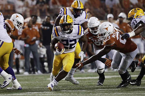 LSU running back Clyde Edwards-Helaire (22) during the second half of an NCAA college football game against Texas, Saturday, Sept. 7, 2019, in Austin, Texas. (AP Photo/Eric Gay)