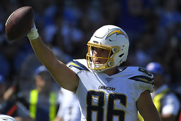 Los Angeles Chargers tight end Hunter Henry gestures with the ball after making a catch during the second half of an NFL football game against the Indianapolis Colts Sunday, Sept. 8, 2019, in Carson, Calif. (AP Photo/Mark J. Terrill)