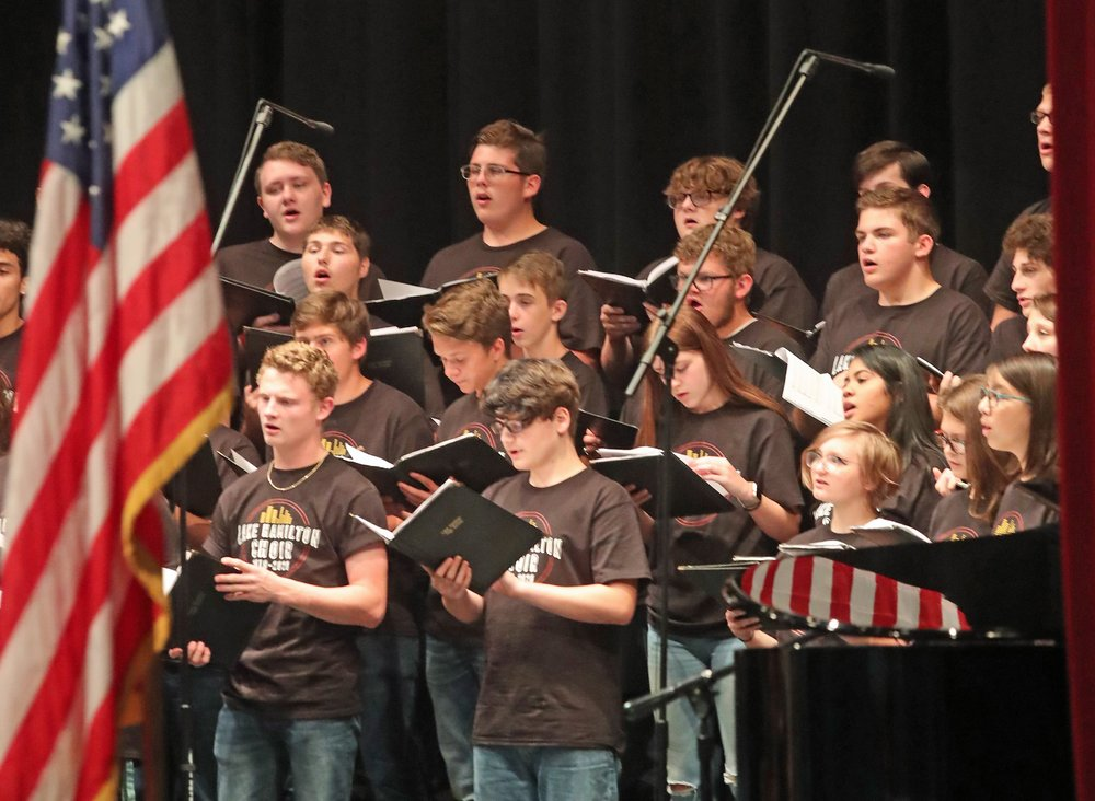 Members of the Lake Hamilton High School choir perform at a 9/11 remembrance ceremony at the school Wednesday. - Photo by Richard Rasmussen of The Sentinel-Record