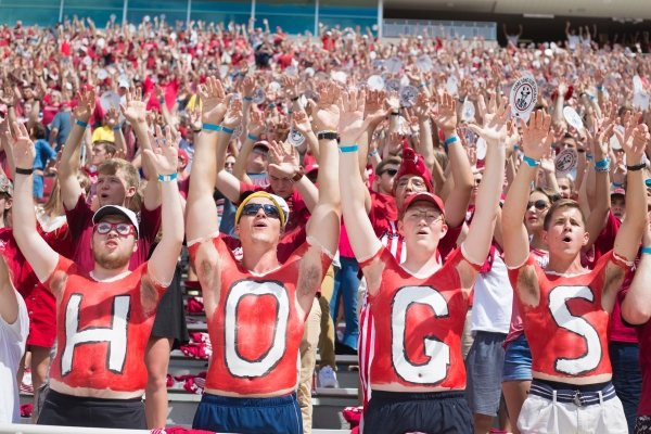 Arkansas fans call the Hogs during a football game, Saturday, August 31, 2019 at Donald W. Reynolds Razorback Stadium in Fayetteville.