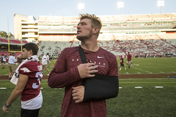 Arkansas linebacker Bumper Pool is shown following the Razorbacks' 55-34 victory over Colorado State on Saturday, Sept. 14, 2019, in Fayetteville. Pool was injured during the first half of the game.