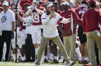 Arkansas coach Chad Morris is shown during a game against Colorado State on Saturday, Sept. 14, 2019, in Fayetteville.