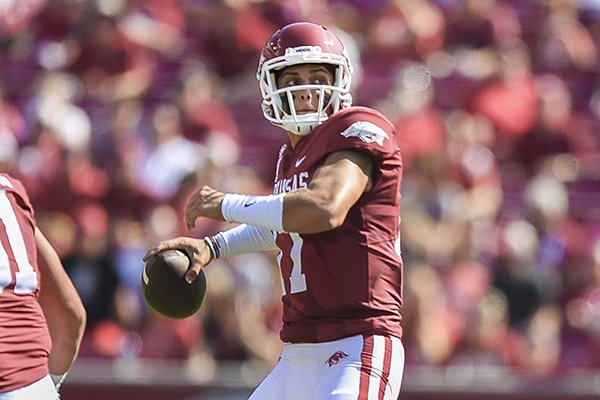 Arkansas quarterback Nick Starkel throws a pass during a game against Colorado State on Saturday, Sept. 14, 2019, in Fayetteville.