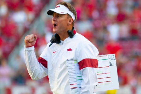 Head coach Chad Morris celebrate touchdown in 4th quarter against Colorado State during a football game, Saturday, September 14, 2019 at Donald W. Reynolds Stadium in Fayetteville, AR.