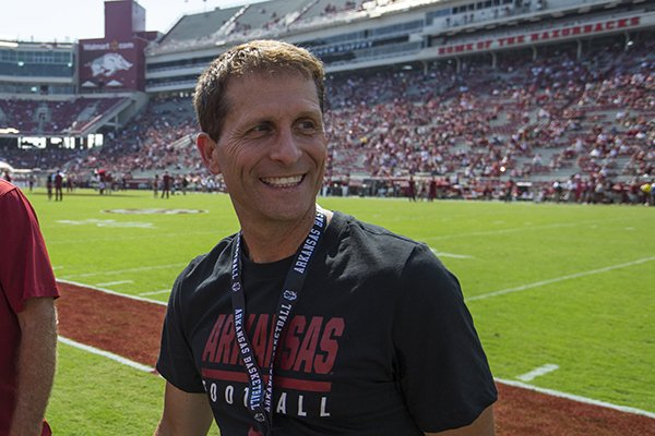 Arkansas basketball coach Eric Musselman is shown prior to a football game between the Razorbacks and Colorado State on Saturday, Sept. 14, 2019, in Fayetteville.