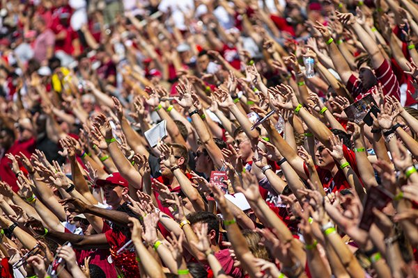 Arkansas fans call the Hogs during a game against Colorado State on Saturday, Sept. 14, 2019, in Fayetteville.