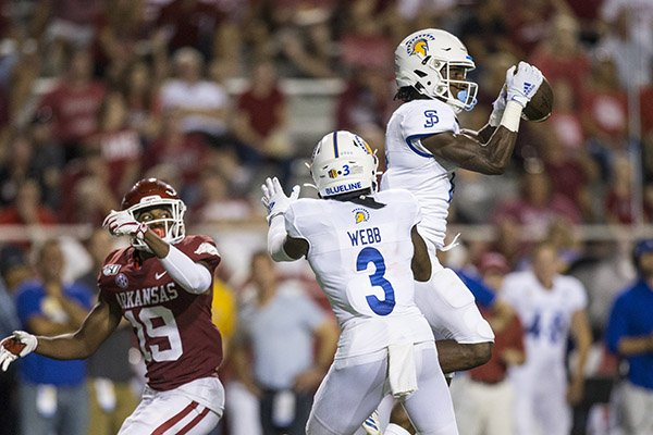 San Jose State defensive back Bobby Brown intercepts a pass during the fourth quarter of a game against Arkansas on Saturday, Sept. 21, 2019, in Fayetteville.