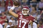 Arkansas quarterback Nick Starkel takes a snap during a game against San Jose State on Saturday, Sept. 21, 2019, in Fayetteville.