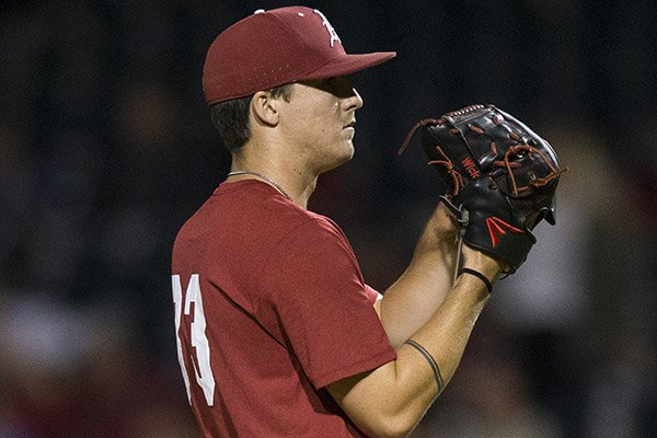 Arkansas pitcher Patrick Wicklander looks toward the mound during an exhibition game against Oklahoma on Friday, Sept. 20, 2019, in Fayetteville.