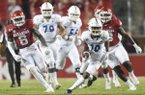 San Jose State wide receiver Tre Walker (10) carries the ball during the second quarter of a football game, Saturday, September 21, 2019 at Donald W. Reynolds Razorback Stadium in Fayetteville.