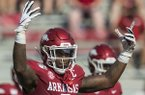 Arkansas linebacker De'Jon Harris is shown during a game against Colorado State on Saturday, Sept. 14, 2019, in Fayetteville.