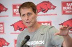 Arkansas coach Eric Musselman speaks Tuesday, Sept. 24, 2019, in the university's Basketball Performance Center in Fayetteville.
