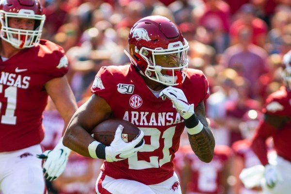 Devwah Whaley running the ball against Colorado State during a football game, Saturday, September 14, 2019 at Donald W. Reynolds Stadium in Fayetteville, AR.