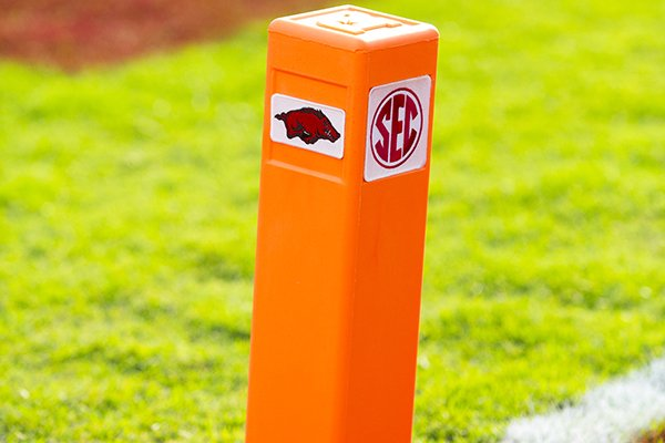 A pylon is shown prior to a game between Arkansas and San Jose State on Saturday, Sept. 21, 2019, in Fayetteville.
