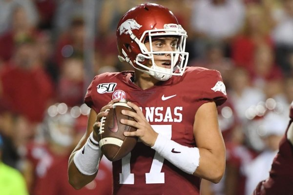 Arkansas quarterback Nick Starkel drops back to pass against San Jose State during an NCAA college football game, Saturday, Sept. 21, 2019 in Fayetteville. (AP Photo/Michael Woods)