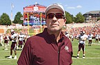 Texas A&M head coach Jimbo Fisher stands at midfield before the start of an NCAA college football game against Clemson Saturday, Sept. 7, 2019, in Clemson, S.C. Clemson won 24-10. (AP Photo/Richard Shiro)