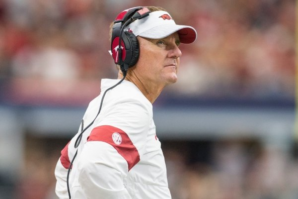 Arkansas coach Chad Morris is shown during the fourth quarter of a game against Texas A&M on Saturday, Sept. 28, 2019, in Arlington, Texas.