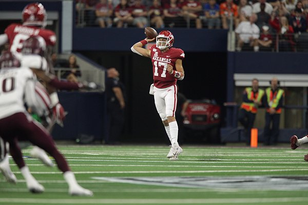 Arkansas quarterback Nick Starkel (17) throws a pass during a game against Texas A&M on Saturday, Sept. 28, 2019, in Arlington, Texas.