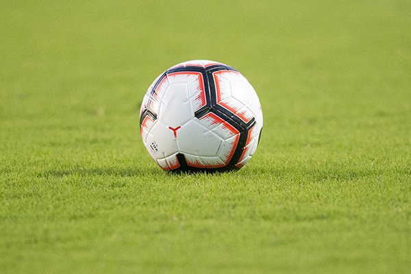 A soccer ball is shown on the field prior to a game between Arkansas and Vanderbilt on Thursday, Sept. 26, 2019, in Fayetteville.