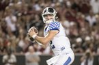 Kentucky quarterback Sawyer Smith (12) looks for an open receiver against South Carolina during the second half of an NCAA college football game Saturday, Sept. 28, 2019, in Columbia, S.C. South Carolina defeated Kentucky 24-7. (AP Photo/Sean Rayford)