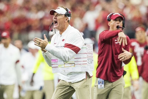 NWA Democrat-Gazette/BEN GOFF @NWABENGOFF Chad Morris, Arkansas head coach, calls for a timeout in the final minute of the game vs Texas A&M Saturday, Sept. 28, 2019, at AT&T Stadium in Arlington, Texas.