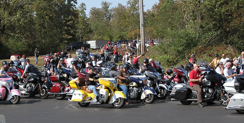 Over 600 Indian motorcycle owners from across the country line up Saturday in Hot Springs in an attempt to break the world record for a parade of Indian motorcycles. - Photo by Tanner Newton of The Sentinel-Record